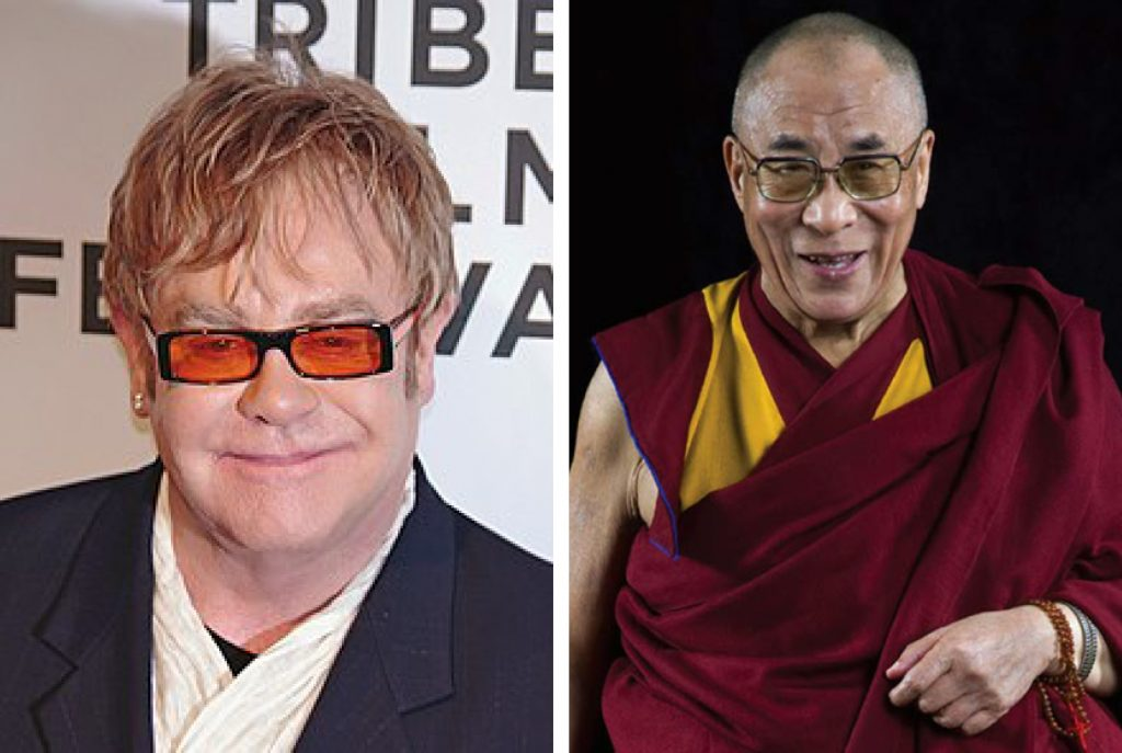 Singer, Songwriter, Pianist, And Composer Elton John And The Dalai Lama, The Spiritual Head Of Tibetan People